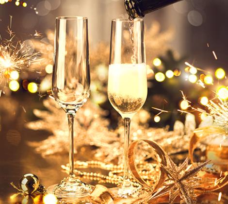 Champagne, bruisend het nieuwe jaar in
