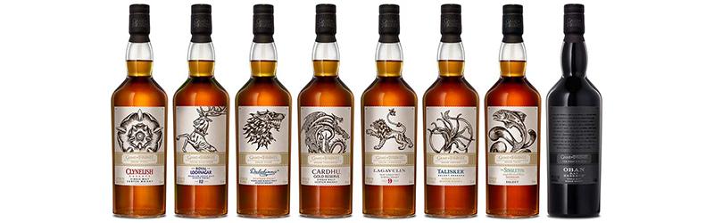De Game of Thrones whisky's zijn geïnspireerd op de 'huizen' die centraal staan in de serie