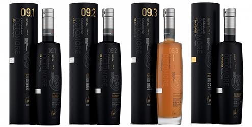De Octomore Dialogos serie bestaat uit vier flessen: 9.1, 9.2, 9.3 & een 10 jaar oude whisky